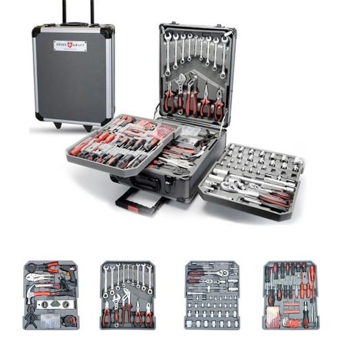 Trolley in Alluminio con Attrezzi professionali 326 pezzi in acciaio
