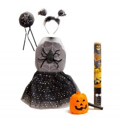 Halloween Pack Vestito Streghetta Ragno + Accessori