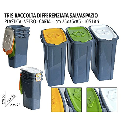Tris pattumiera raccolta differenziata 3x35lt stoprice - Contenitori raccolta differenziata ikea ...